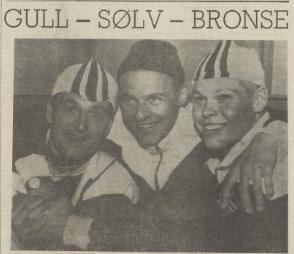 """Overskrift fra RA 6.2.1964: """"GULL - SØLV - BRONSE"""", med bilde av de 3 medaljevinnerne"""