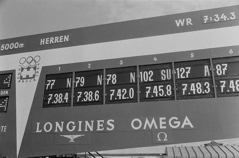 Resultattavlen etter 5000 m i OL i Innsbruck 1964.