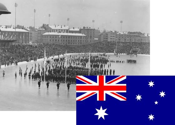 Bildemontasje med Australias flagg over et bilde fra åpningsseremonien på Bislett stadion 15.2.1952 (Foto: P.A. Røstad / Oslo Museum)