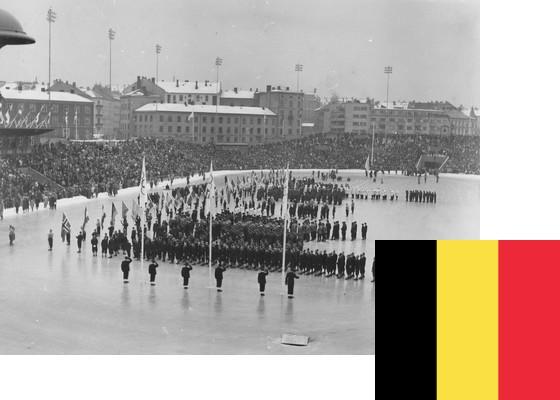 Bildemontasje med Belgias flagg over et bilde fra åpningsseremonien på Bislett stadion 15.2.1952 (Foto: P.A. Røstad / Oslo Museum)