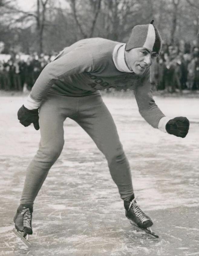 Pressefoto av den canadiske skøyteløperen Frank Stack, tatt i forkant av OL i Garmisch-Partenkirchen i 1936.
