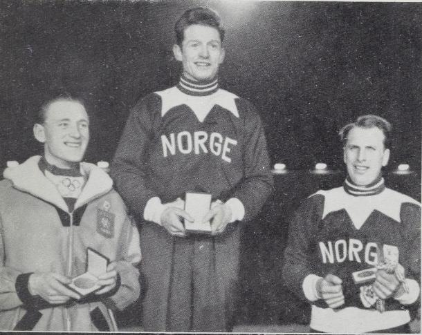 Bilde av seierspallen på 5000 m under vinter-OL i 1952.