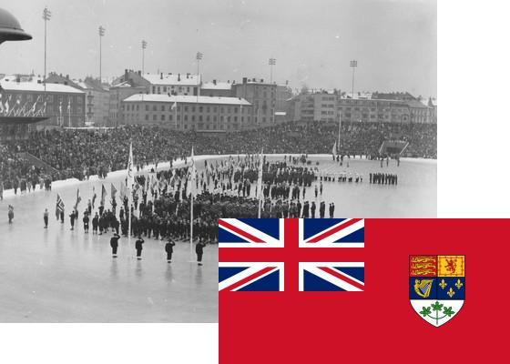 Bildemontasje med Canadas flagg over et bilde fra åpningsseremonien på Bislett stadion 15.2.1952 (Foto: P.A. Røstad / Oslo Museum)