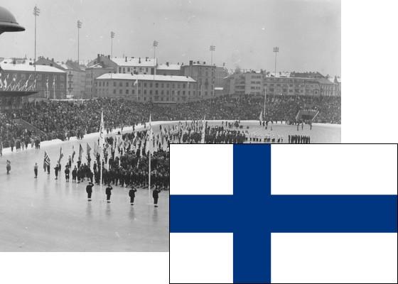 Bildemontasje med Finlands flagg over et bilde fra åpningsseremonien på Bislett stadion 15.2.1952 (Foto: P.A. Røstad / Oslo Museum)
