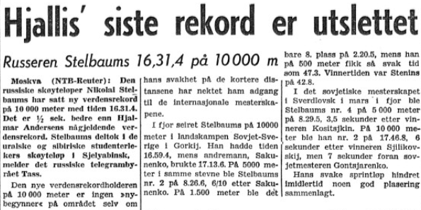 Faksimile Stavanger Aftenblad 5. februar 1959 i forbindelse med Nikolaj Stjelbaums sitt rekordløp.