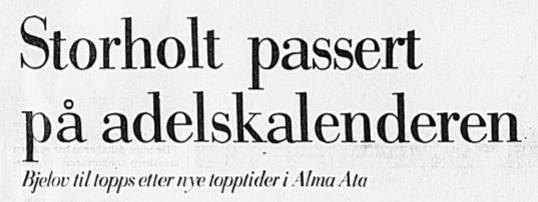 Faksimile Stavanger Aftenblad 12. april 1978: Vladimir Belov har klatret til topps på Adelskalenderen.