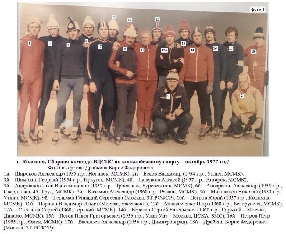 Bilde av Russiske skøyteløpere samlet til treningsleir i Kolomna, i regi av fagforeningenes idrettsorganisasjon, høsten 1977.