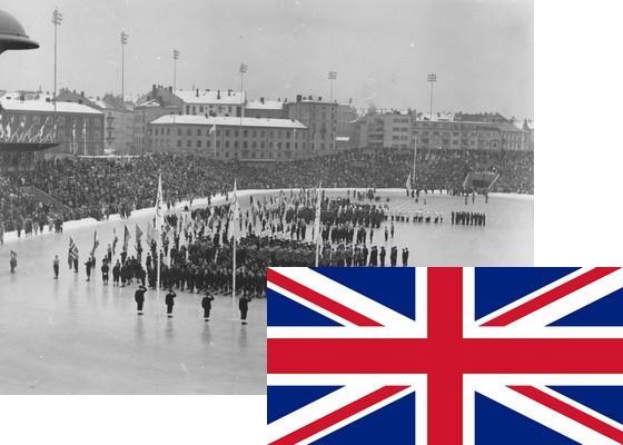 Bildemontasje med Storbritannias flagg over et bilde fra åpningsseremonien på Bislett stadion 15.2.1952 (Foto: P.A. Røstad / Oslo Museum)