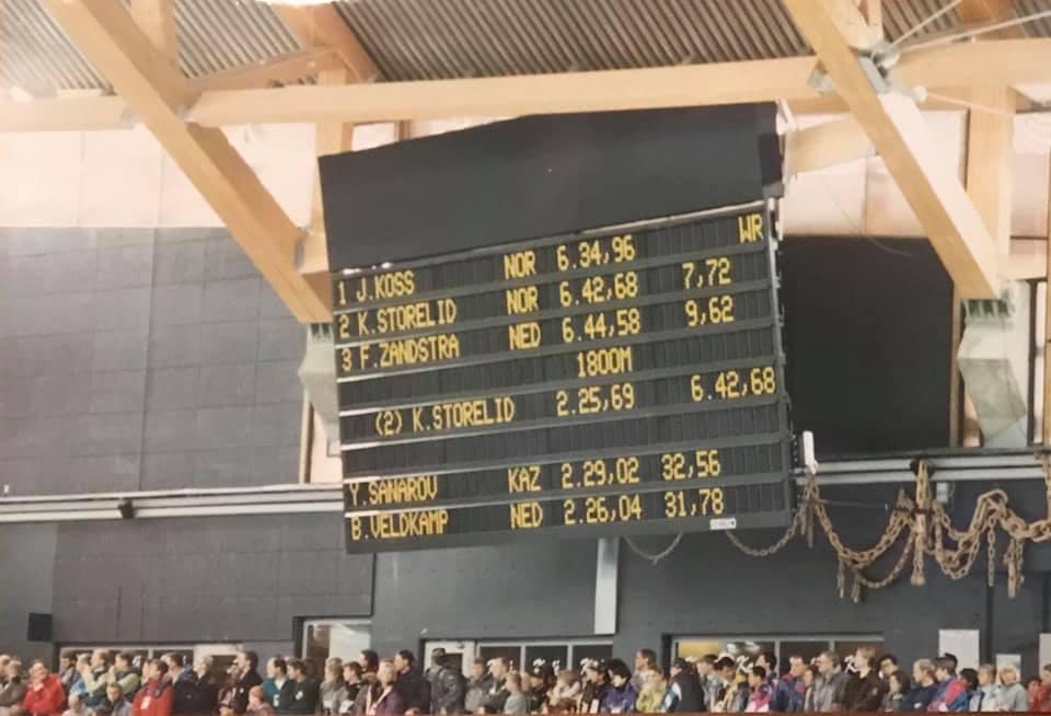 Resultattavla fra 5000 m under OL på Lillehammer viser dobbelt norsk på toppen av lista.