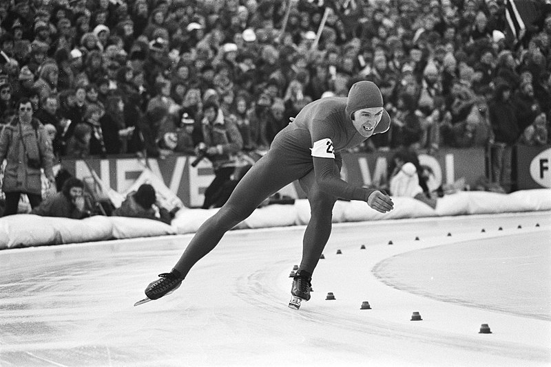 Bilde av Jan Egil Storholt under VM i Heerenveen i 1977.