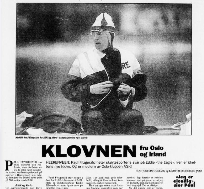Faksimile Arbeiderbladet 4.12.1991 med omtale av Paul Fitzgerald.