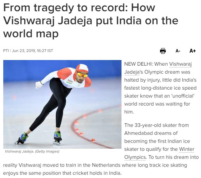 Faksimile fra nettstedet The Times of India, 23.6.2019, om skøyteløperen Vishwaraj Jadeja