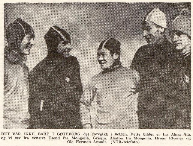 Faksimile Friheten 2.2.1965 med bilde av 5 skøyteløpere.