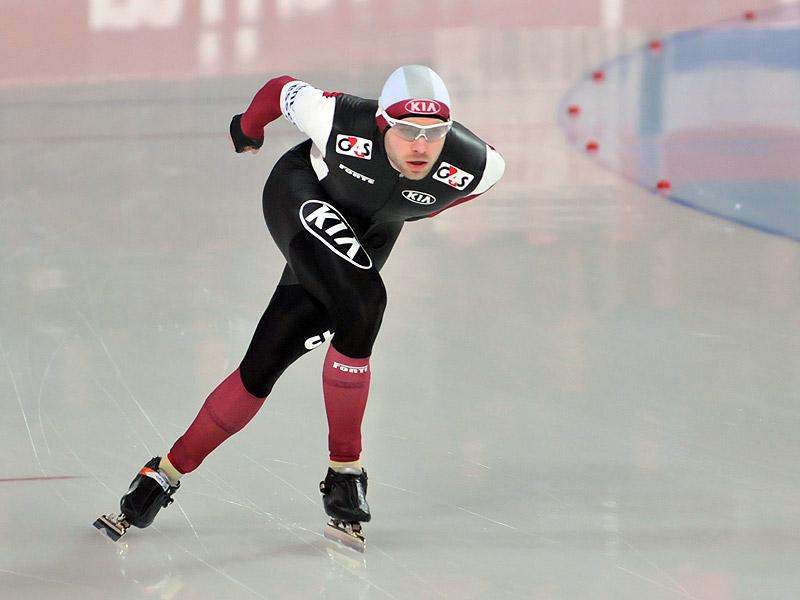 Bilde av den latviske skøyteløperen Haralds Silovs.
