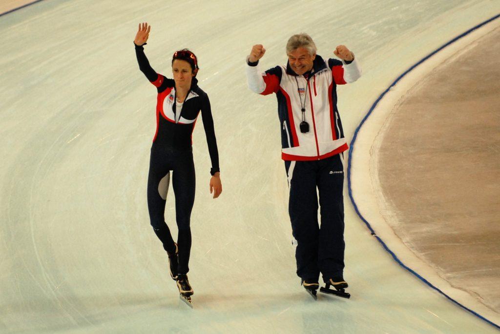 Bilde av Martina Sablikova og treneren hennes, Petr Novak.