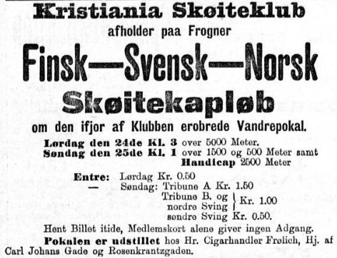 "Annonse i Aftenposten, ""Finsk-Svensk-Norsk Skøitekapløb"""