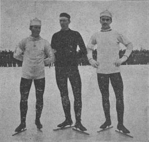 De norske skøyteløperne Rudolf Gundersen, Johan Schwartz og Sigurd Mathisen.