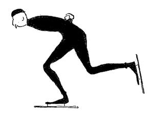 Tegning av den norske skøyteløperen Johan Schwartz.