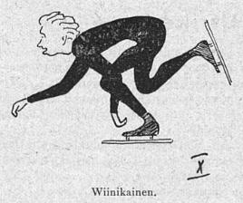 Tegning av den finske skøyteløperen Jussi Wiinikainen