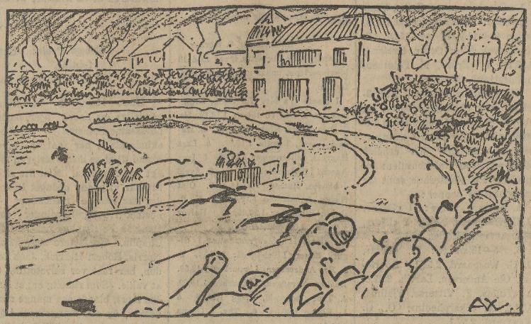 Tegning fra matchen mellom Oscar og Bobby.