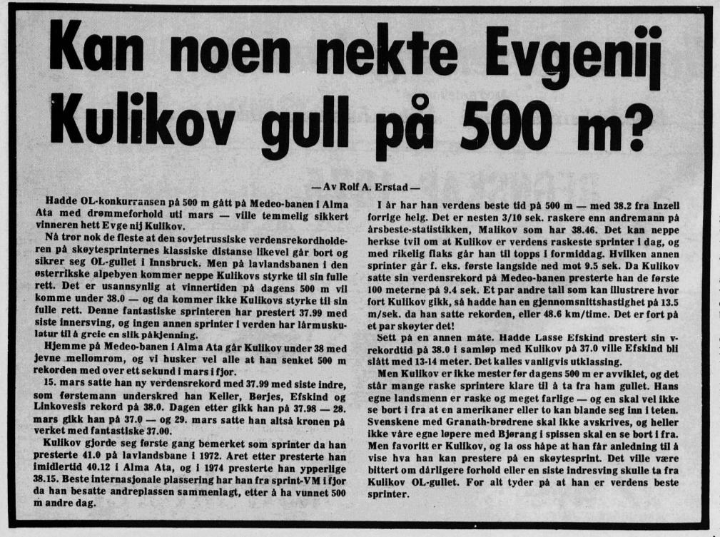 """Faksimile avisa Tromsø 10.2.1976. Overskriften er """"Kan noen nekte Evgenij Kulikov gull på 500 m?"""""""