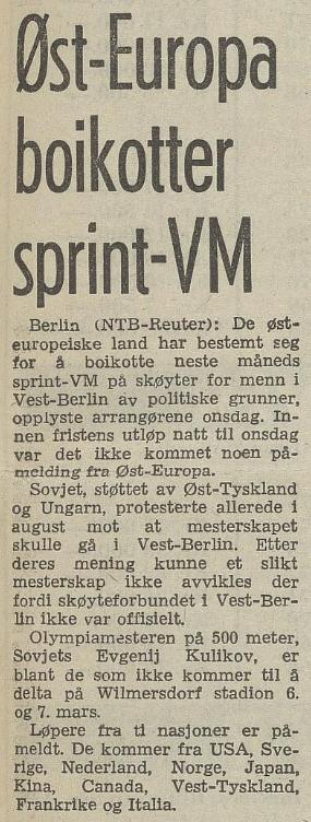Faksimile Arbeiderbladet 19. februar 1976. Oppslaget forteller at de øst-europeiske landene boikotter sprint-VM i Vest-Berlin.