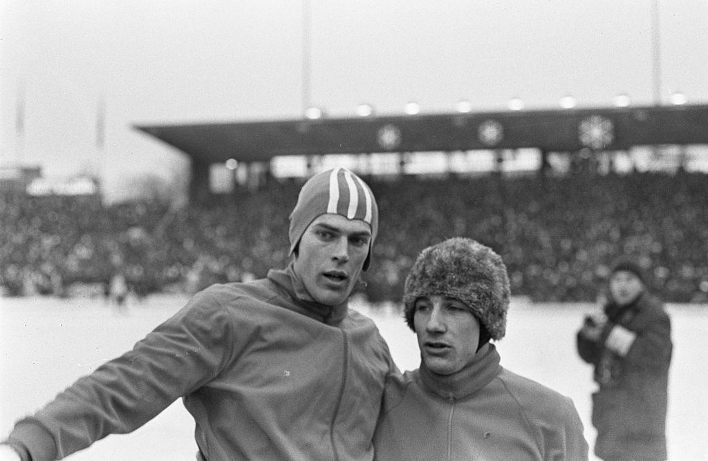 Bilde av Ard Schenk og Kees Verkerk under VM på Bislett i 1967
