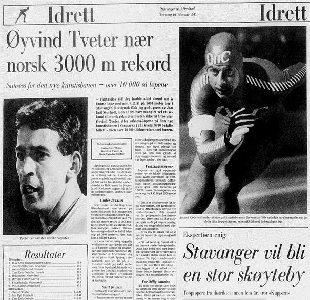 Faksimile Stavanger Aftenblad 19.2.1981, fra åpningen av Sørmarka kunstisbane