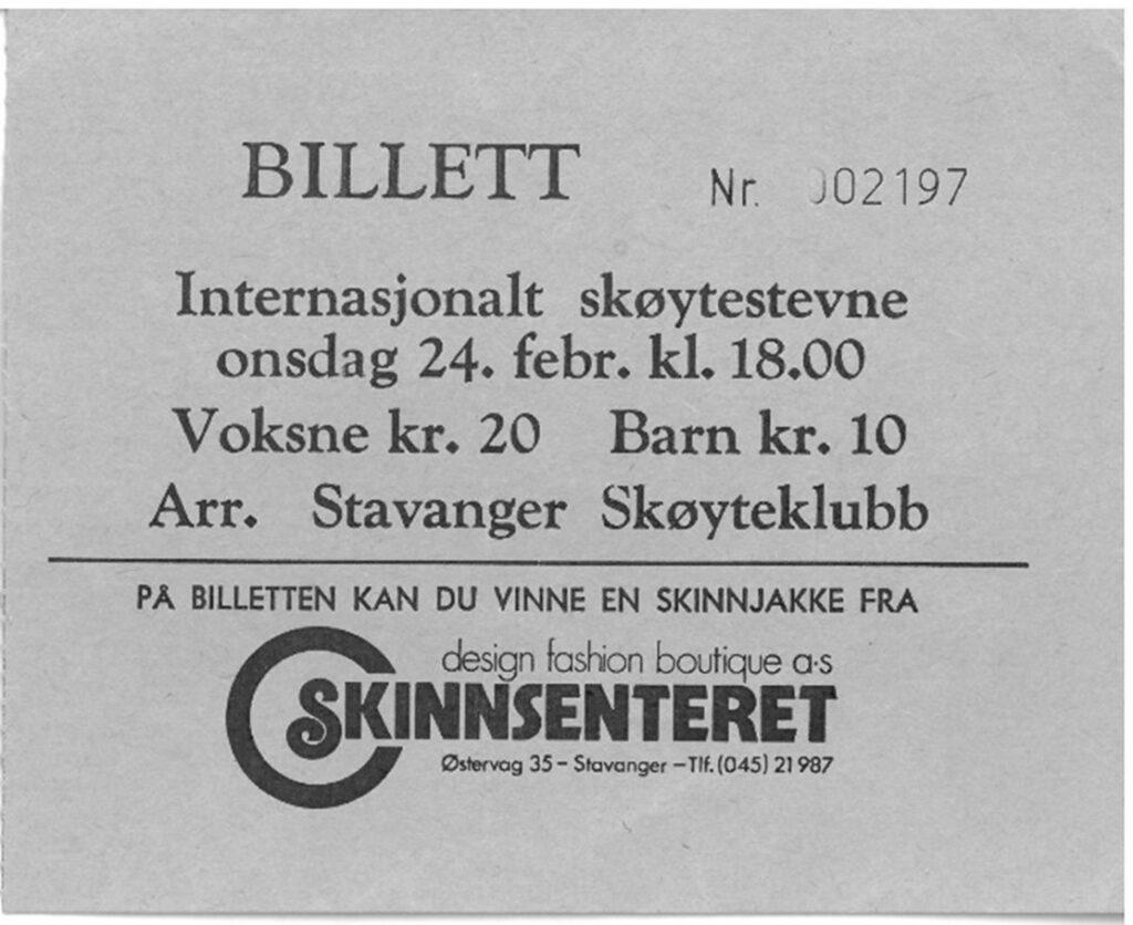 Billett til internasjonalt skøytestevne på Sørmarka kunstisbane 24. februar 1982.