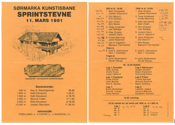 Program fra sprintstevne på Sørmarka kunstisbane 11. mars 1981