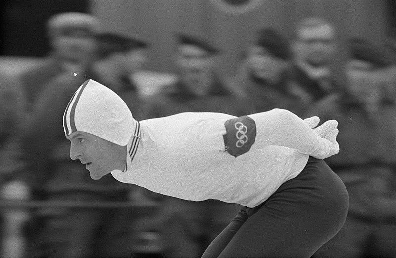 Bilde av skøyteløperen Fred Anton Maier på 5000 m under OL i Grenoble i 1968, der han tok OL-gull.