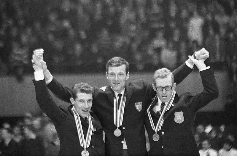 Bilde av seierspallen etter 5000 m under OL i Grenoble i 1968.