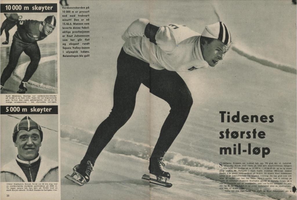 """Faksimile Aktuell nr 11/1960 - Ukeavisen betegner Knut Johannesens 10.000 m som """"Tidenes største mil-løp"""""""