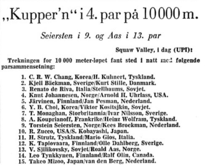 Faksimile Stavanger Aftenblad 27.2.1960 - Parsammensetning for 10.000 m under OL i Squaw Valley.